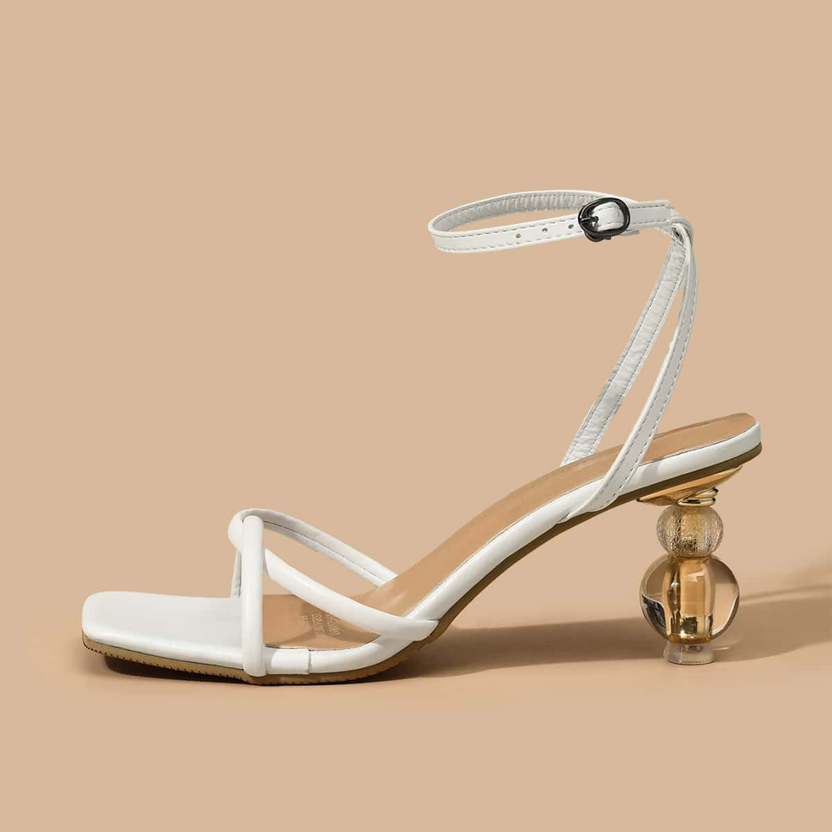 Plain Sculptural Heeled Ankle Strap Sandals, SHEIN  - buy with discount