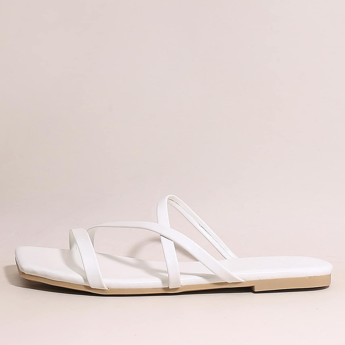 Plain Thin Strap Slide Sandals, SHEIN  - buy with discount