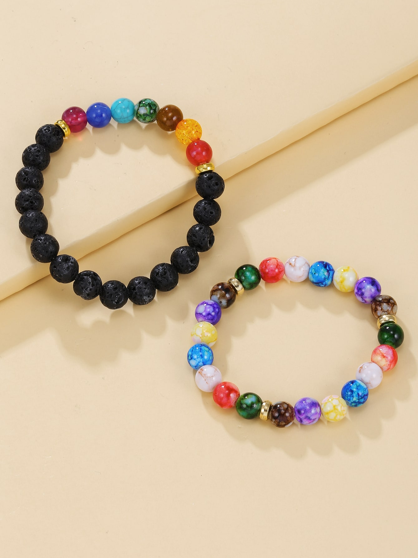 2pcs Colorful Round Beaded Bracelet thumbnail