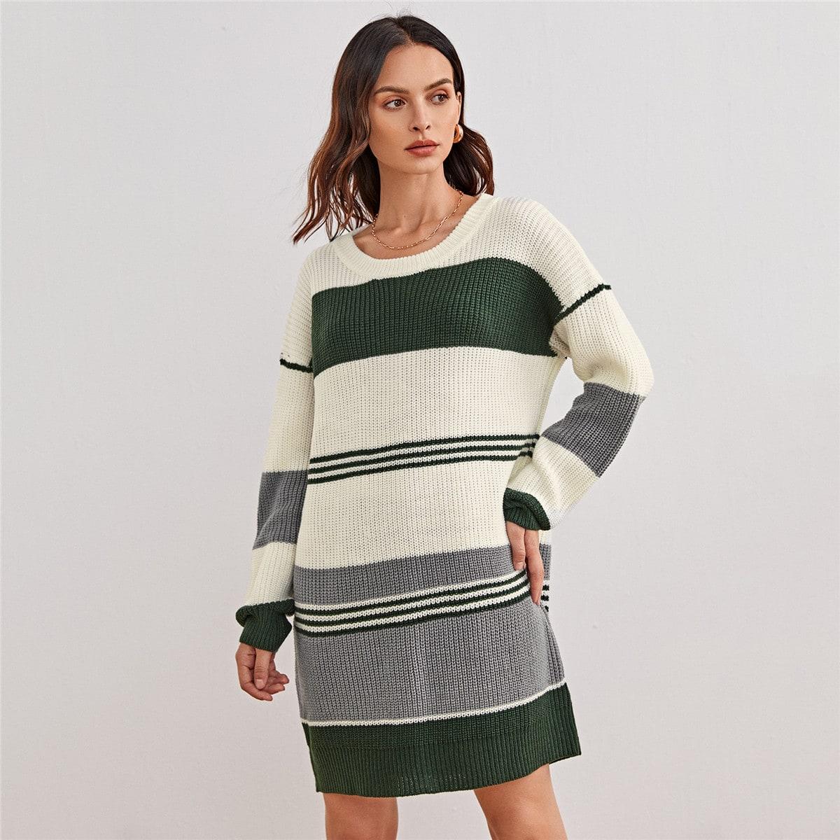 Контрастный длинный свитер в полоску