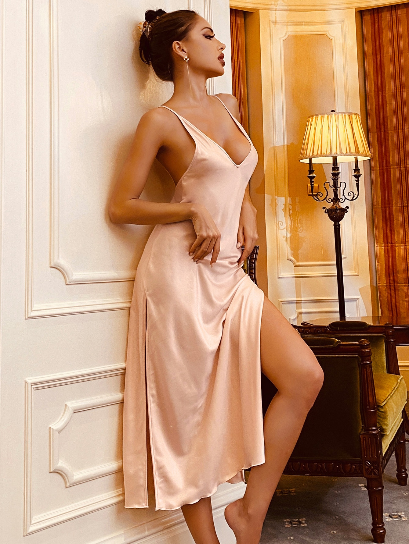 Satin Split Thigh Crisscross Back Cami Night Dress thumbnail