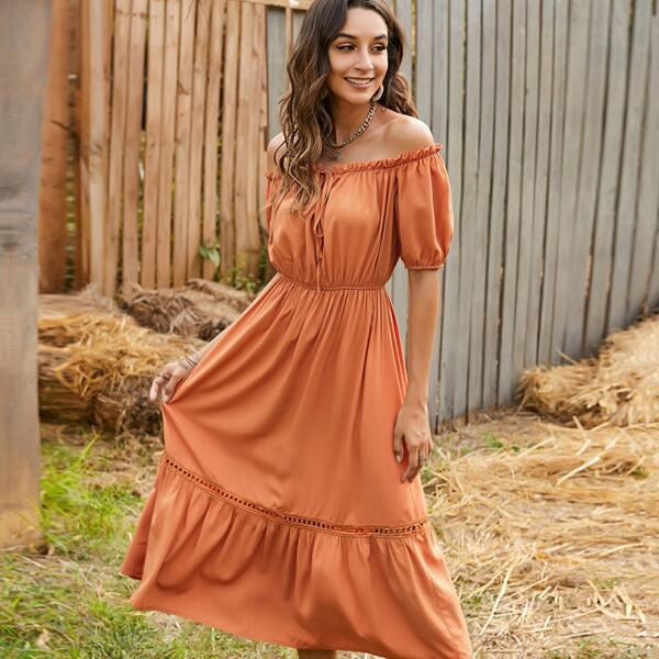 Frill Off Shoulder Tie Front Puff Sleeve Ruffle Hem Dress, Orange