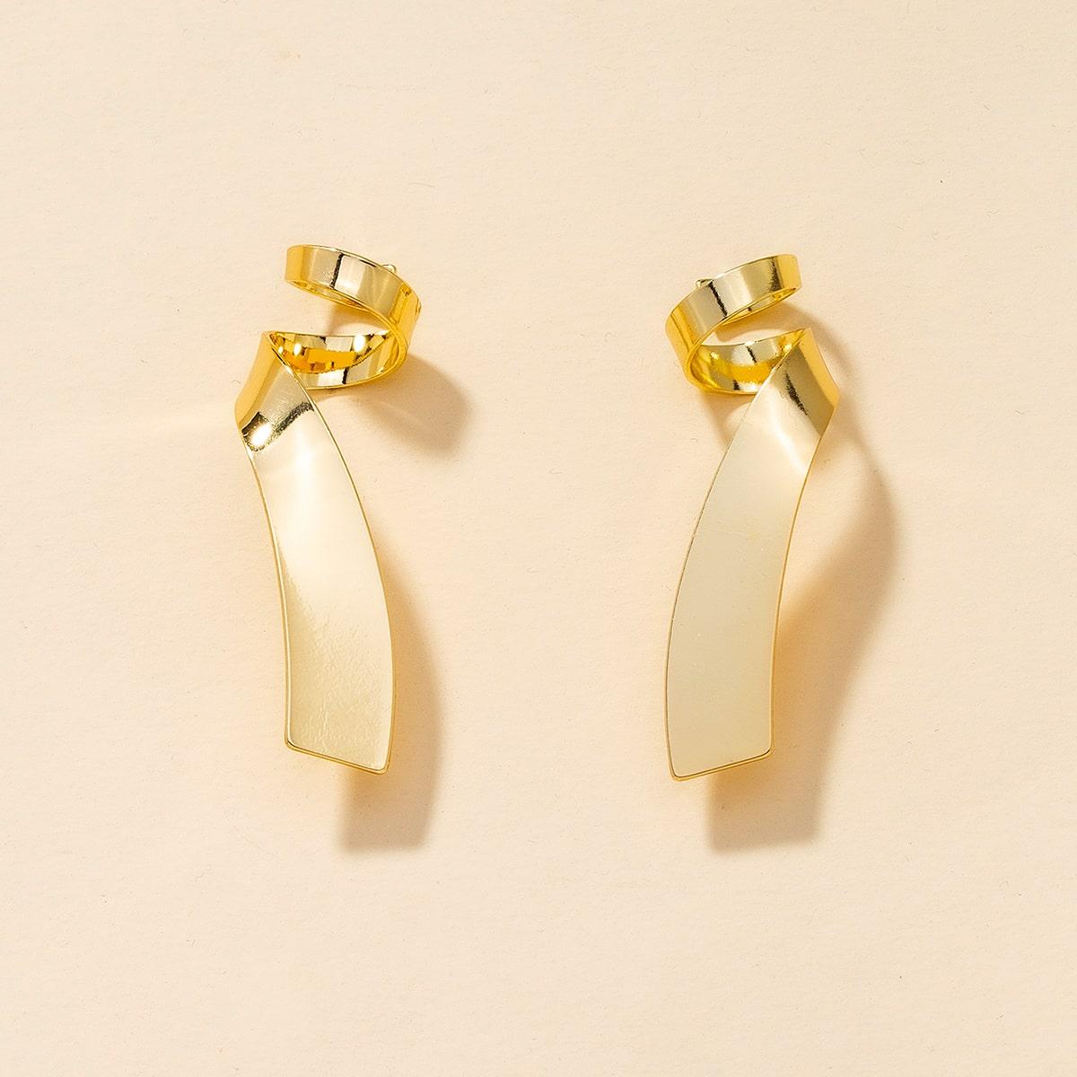 Metallic Spiral Stud Earrings, SHEIN  - buy with discount