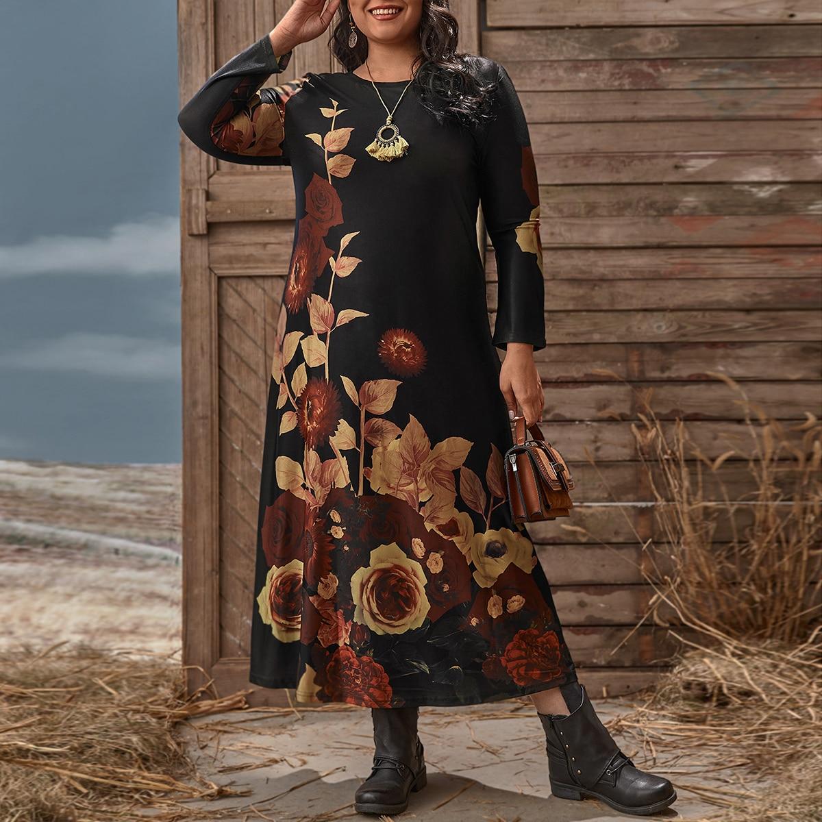 Цветочный Повседневный Платья размер плюс