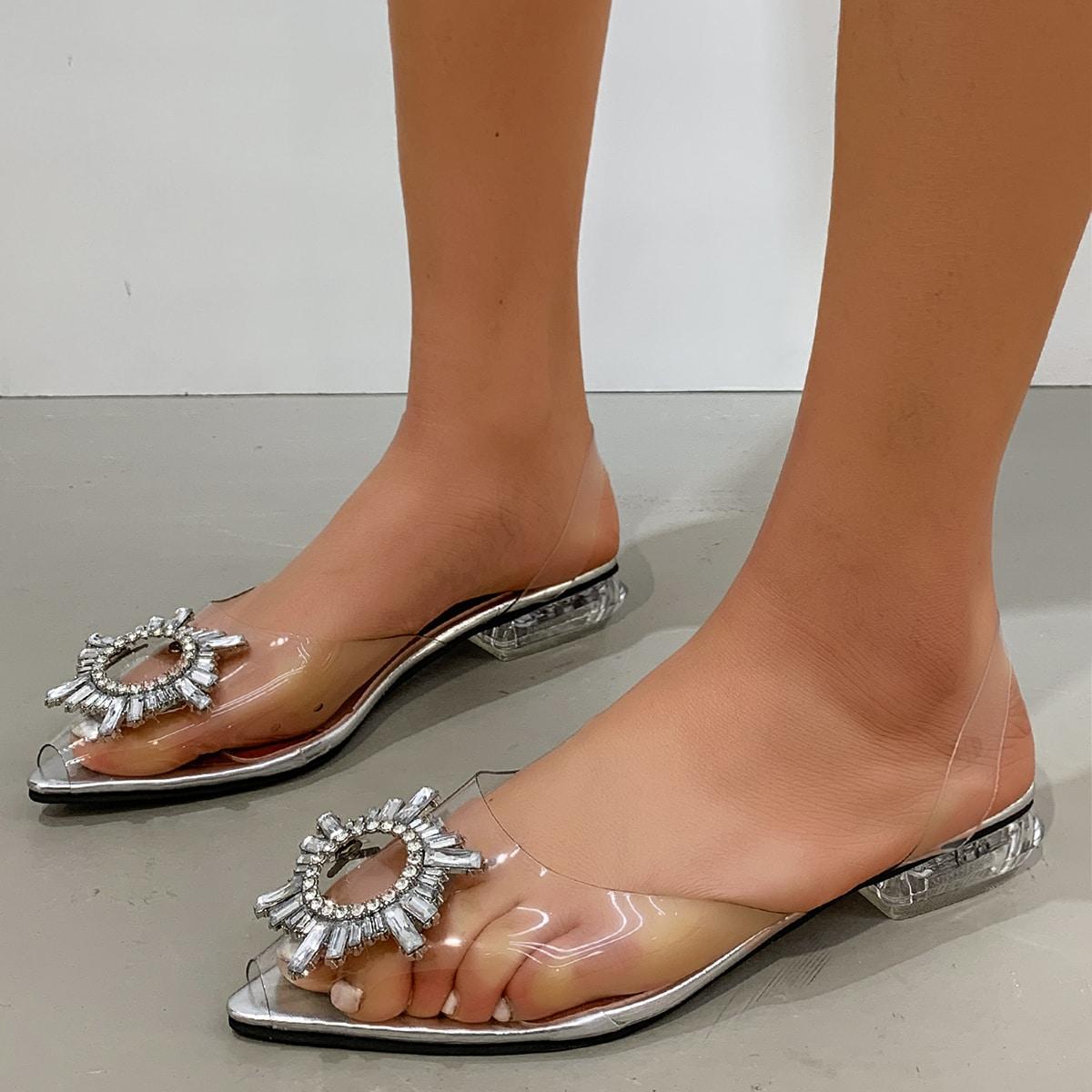Прозрачные туфли-лодочки со стразами