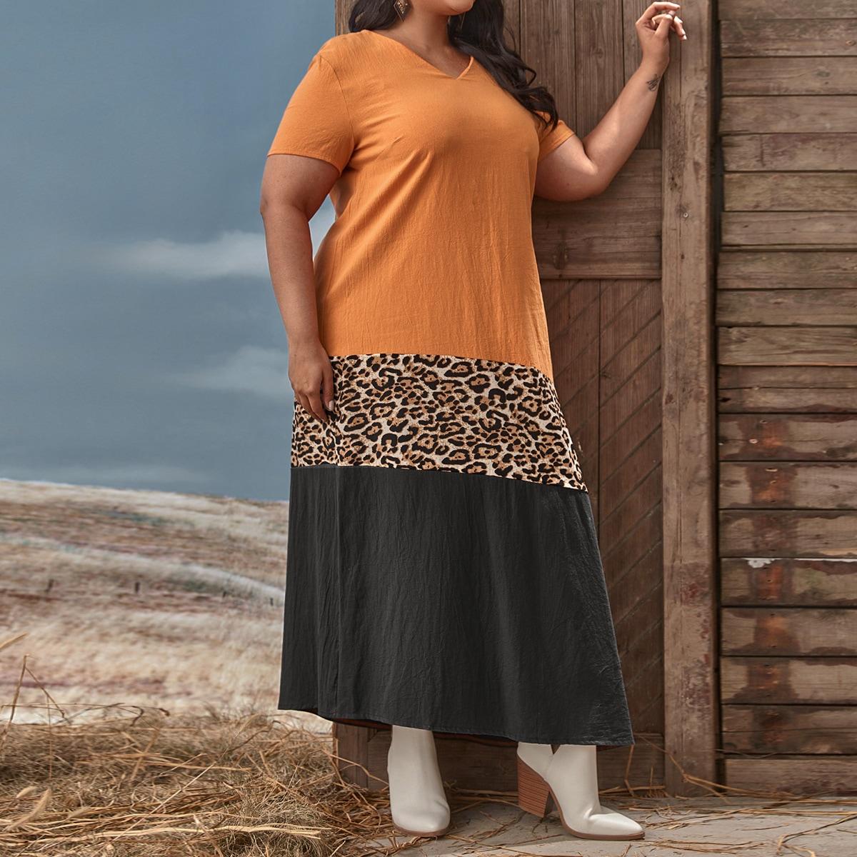 Асимметричный Леопардовый Повседневный Платья размер плюс