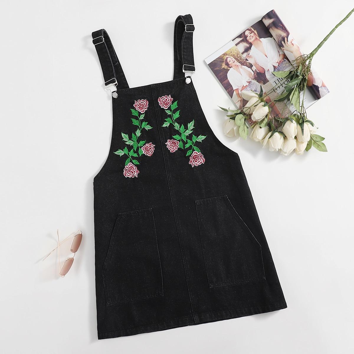 на пуговицах Со цветочками Институтский Джинсовые платья размер плюс