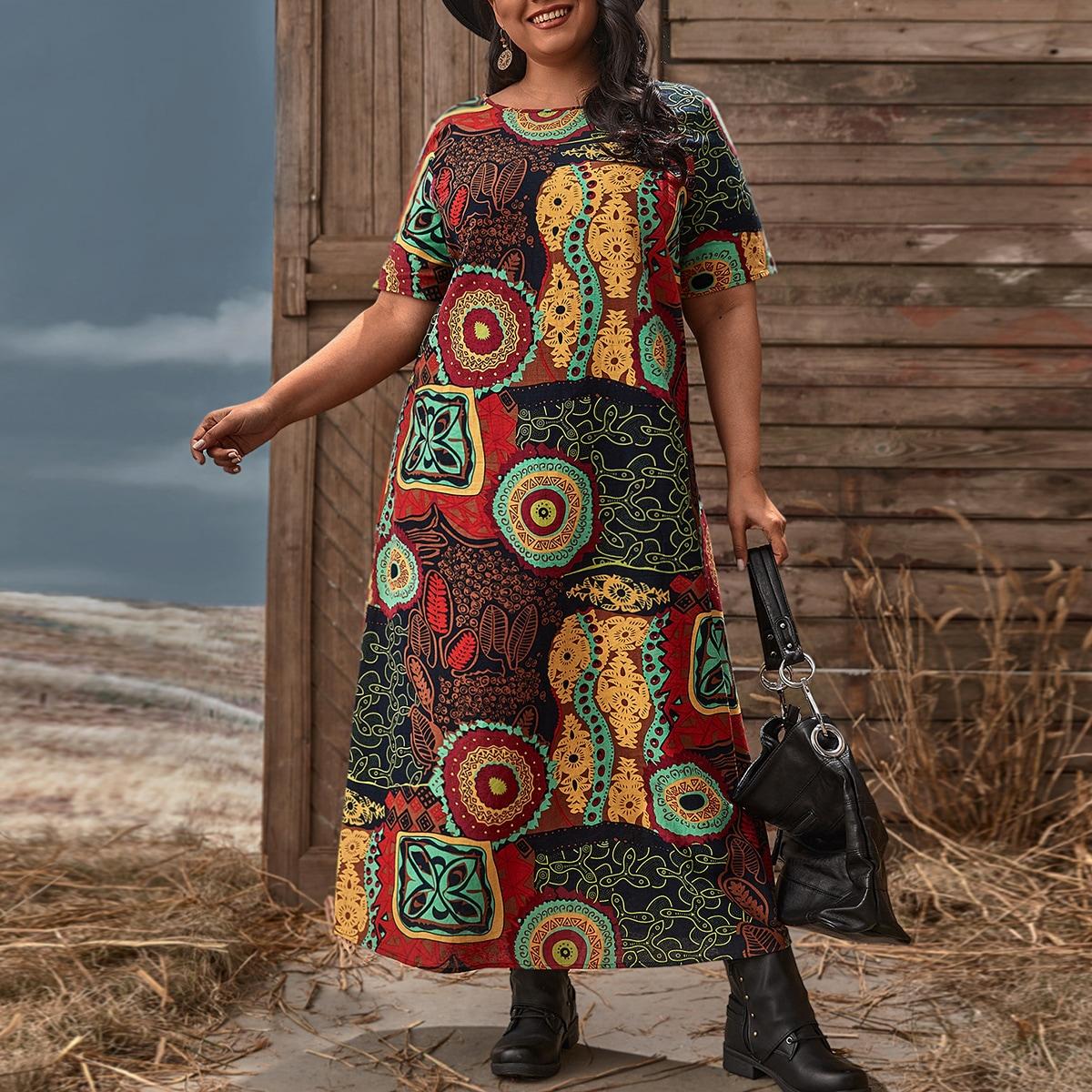 Этнический Бохо Платья размер плюс