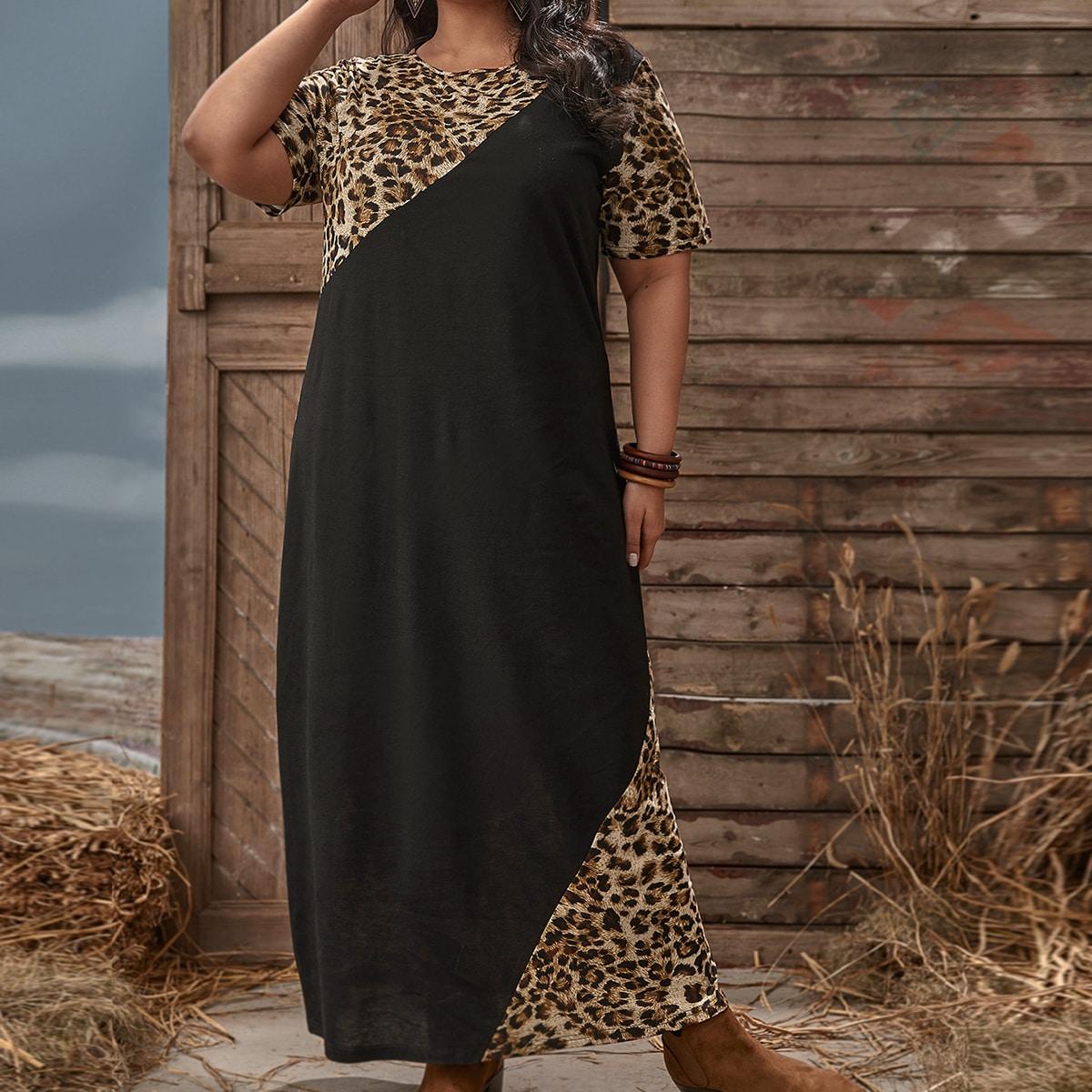 Леопардовый Повседневный Платья размер плюс