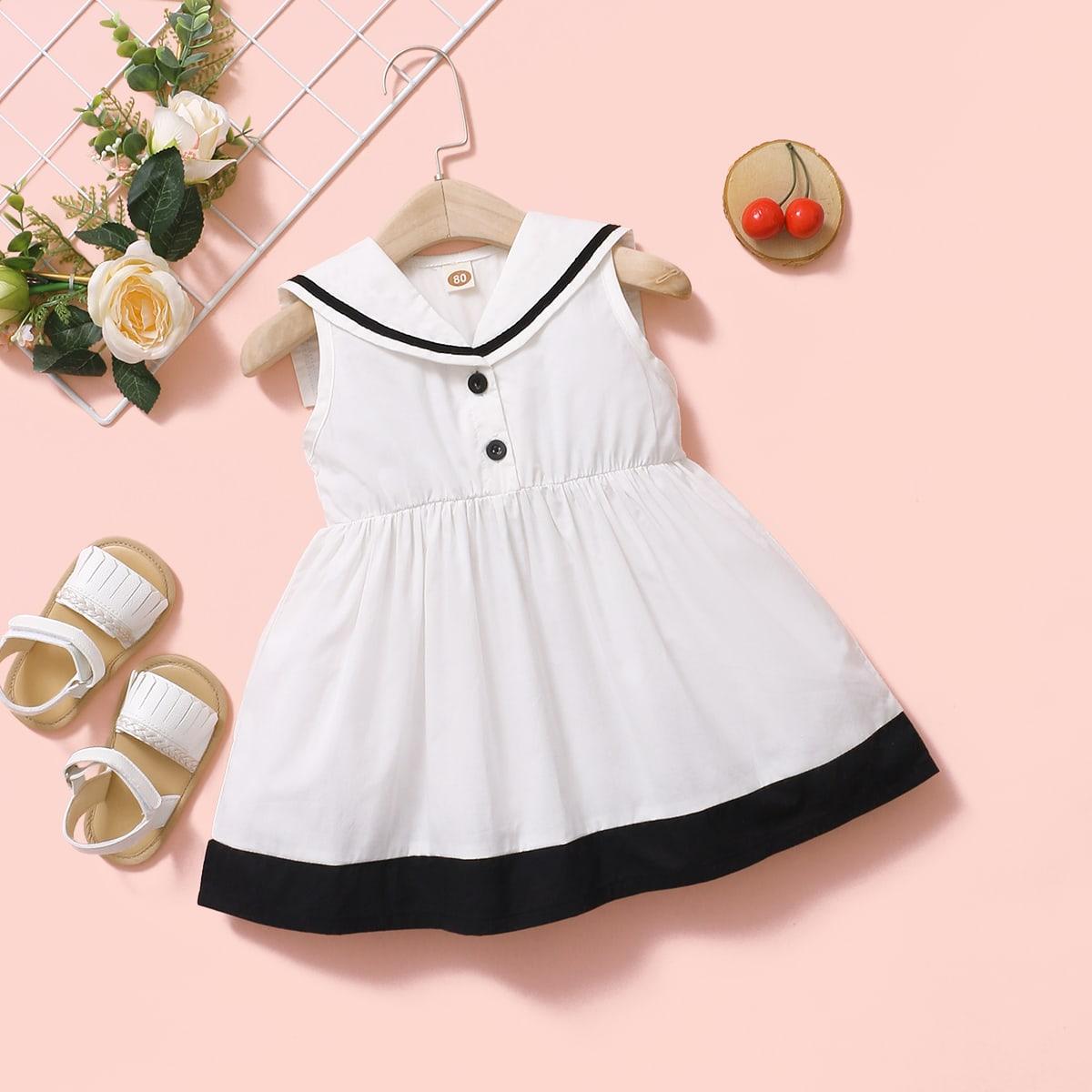 shein Preppy Kleurblok Baby-jurk Voorpand met Knoopjes