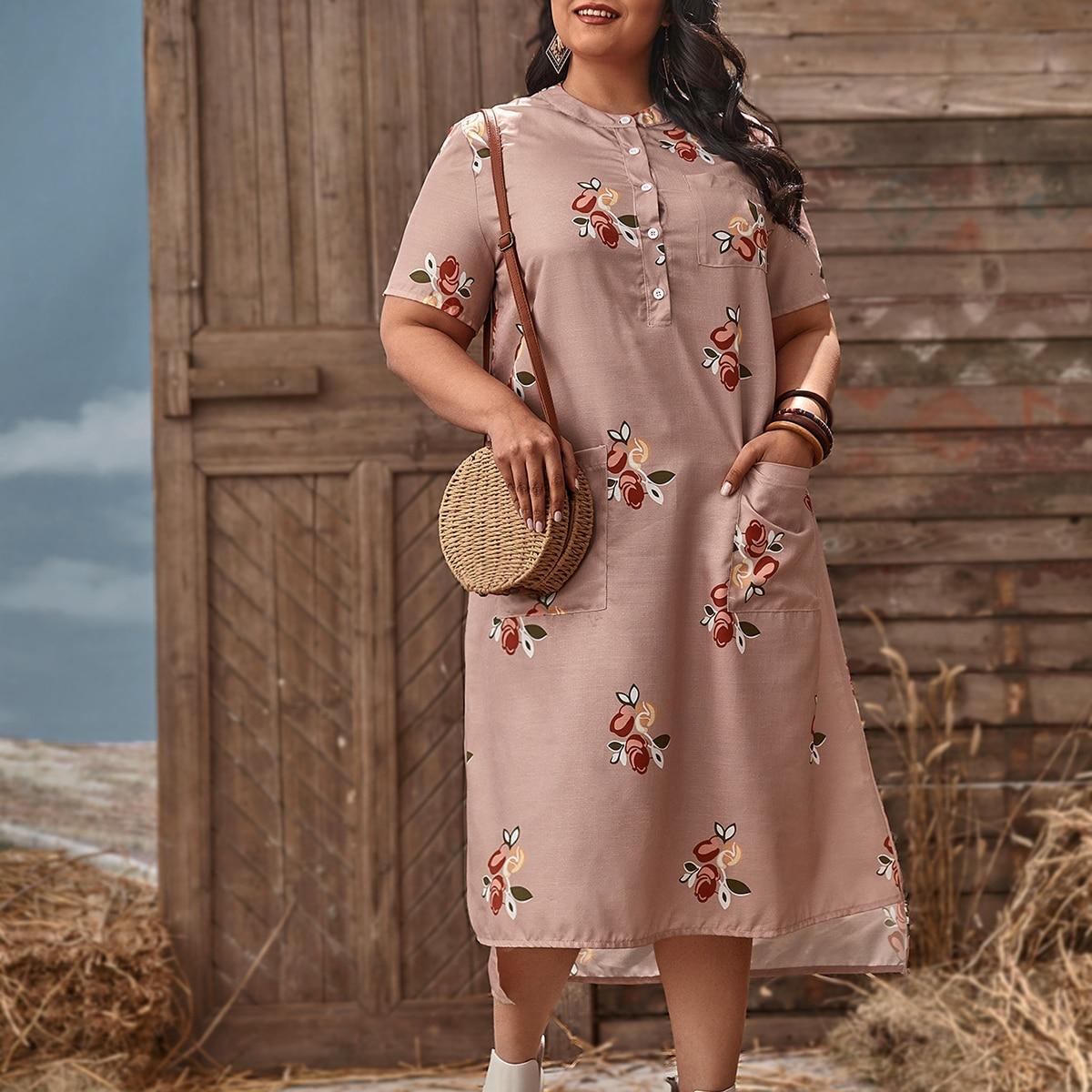 Карман Цветочный Повседневный Платья размер плюс