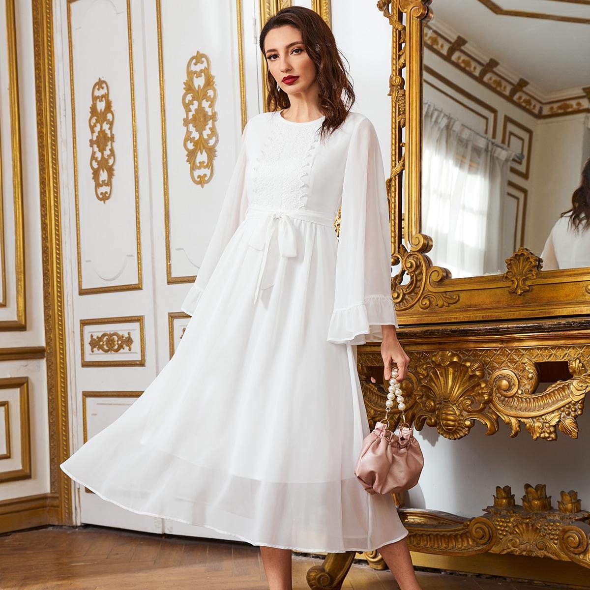 с оборками Одноцветный Элегантный Платье