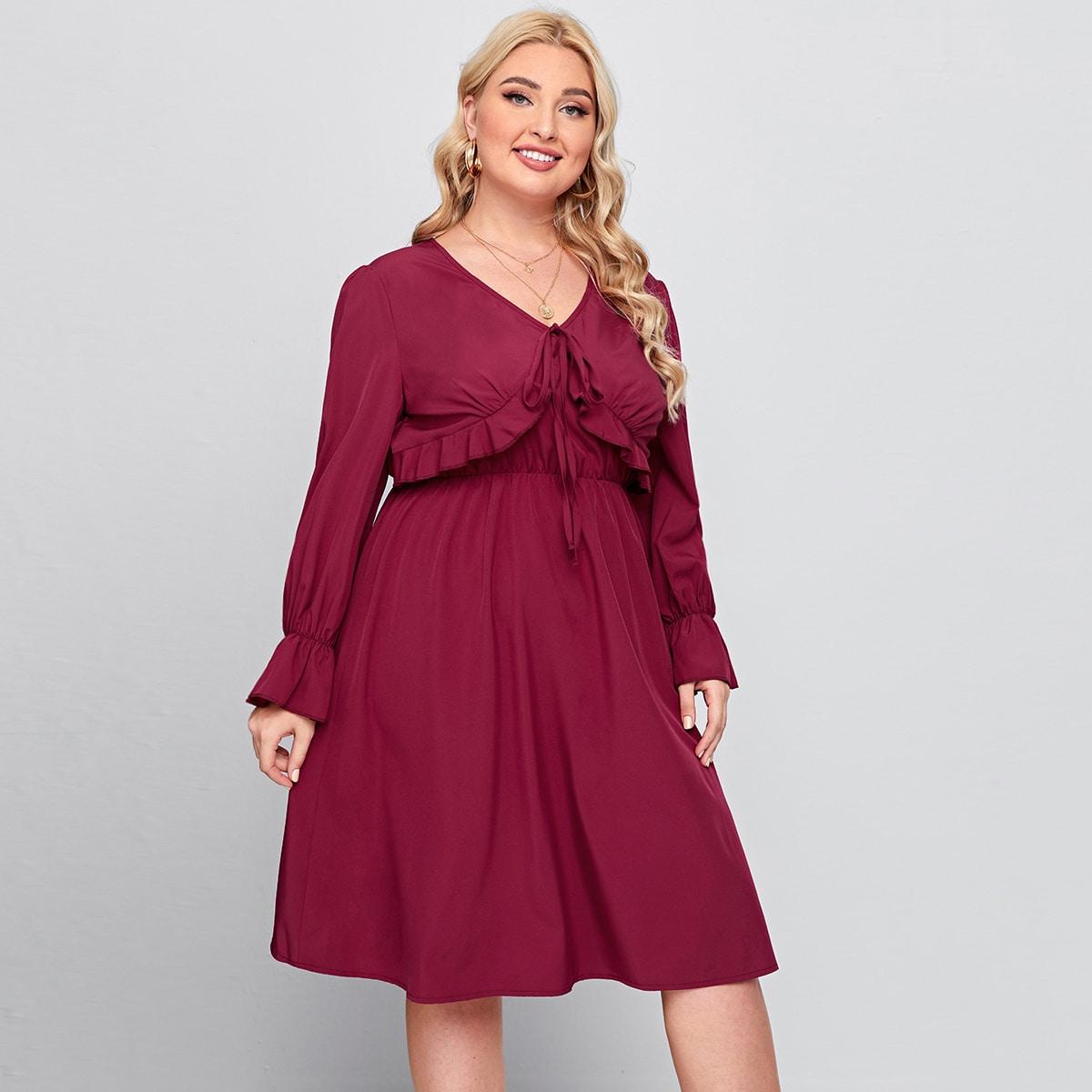 с оборками Одноцветный Элегантный Платья размер плюс