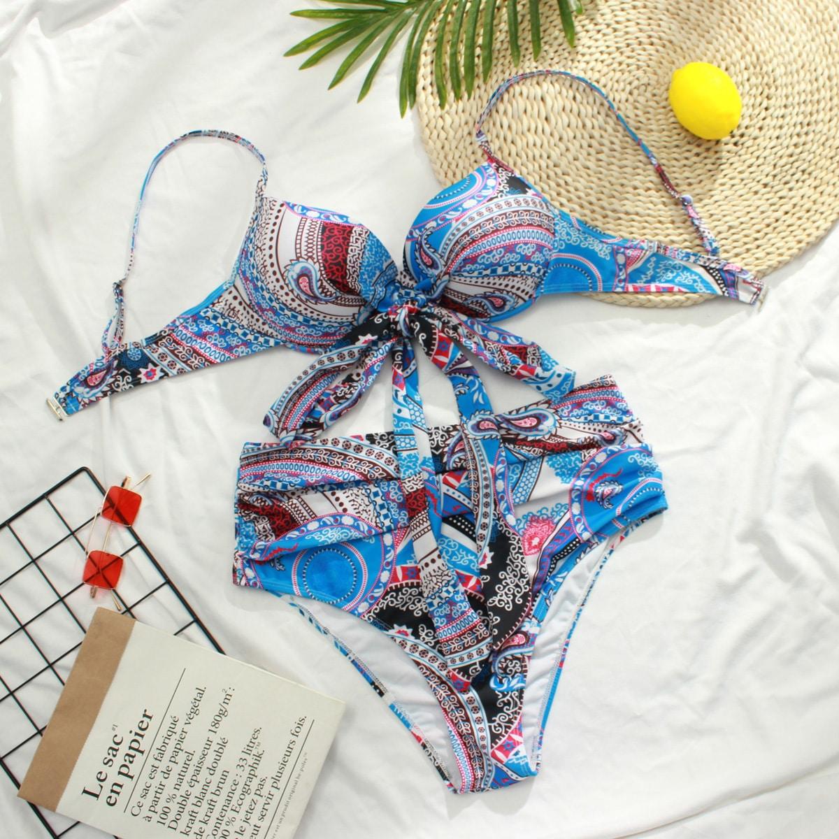 Plus Paisley Print Twist Underwire Bikini Swimsuit, SHEIN  - buy with discount