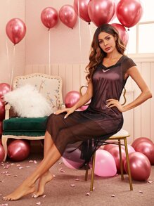 2pcs Satin Cami Night Dress With Mesh Dress