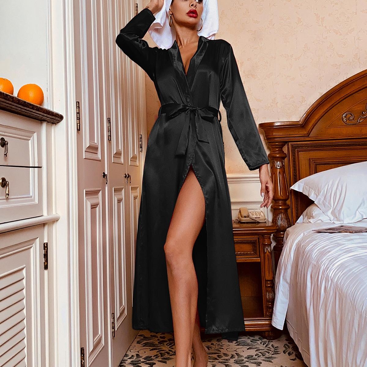 Атласнсый ночной халат с поясом