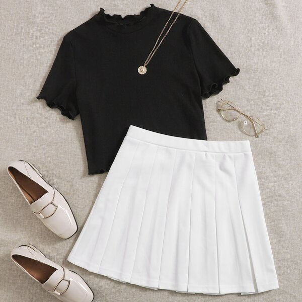 Lettuce Trim Rib-knit Tee & Pleated Skirt Set, Black and white