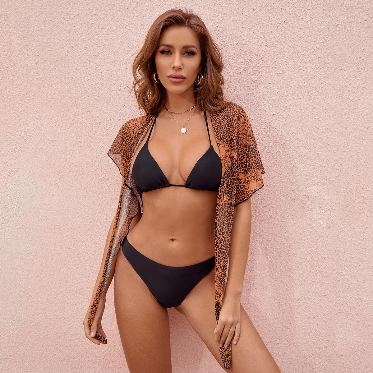SHEIN / 3pack Halter Bikini Swimsuit & Leopard Beach Skirt