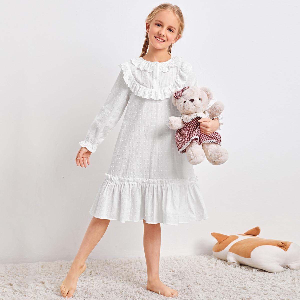 с оборками Одноцветный милый Домашняя одежда для девочек