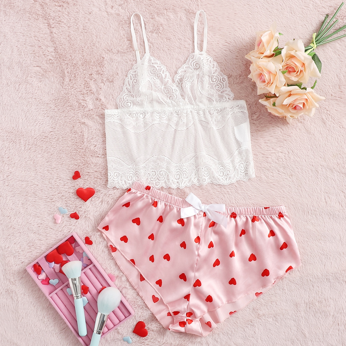 Floral Lace Bralette With Heart Print Shorts, SHEIN  - buy with discount