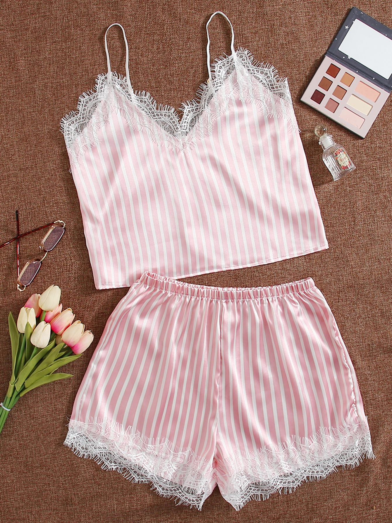 Striped Print Contrast Lace Satin Cami Night Set thumbnail