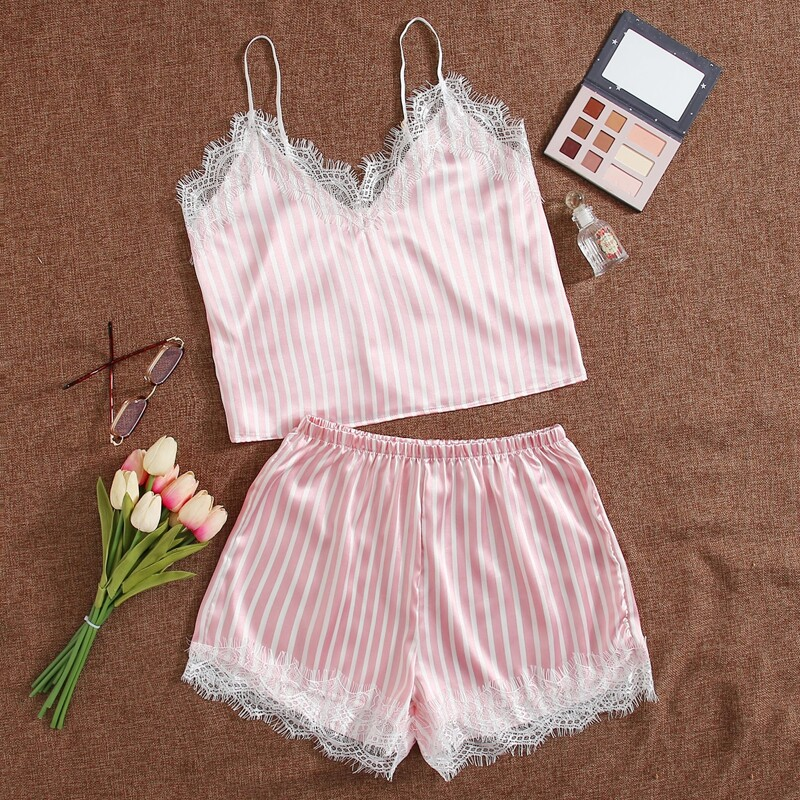 Striped Print Contrast Lace Satin Cami Night Set, Baby pink