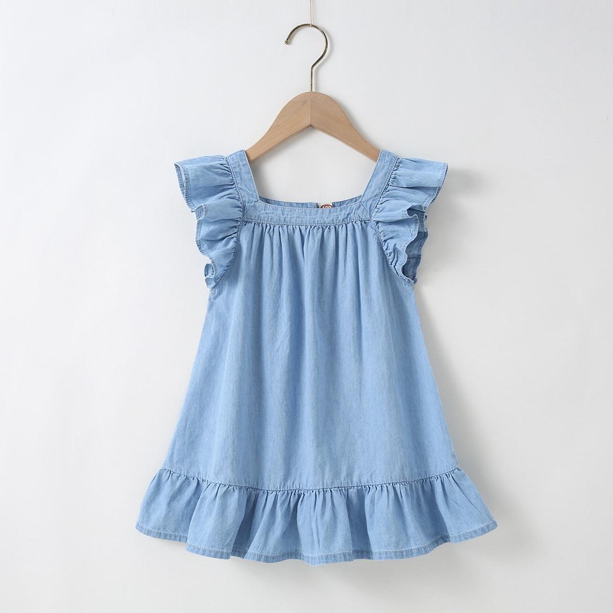 для девочек Платье с оборкой джинсовый SheIn skdress03201218131