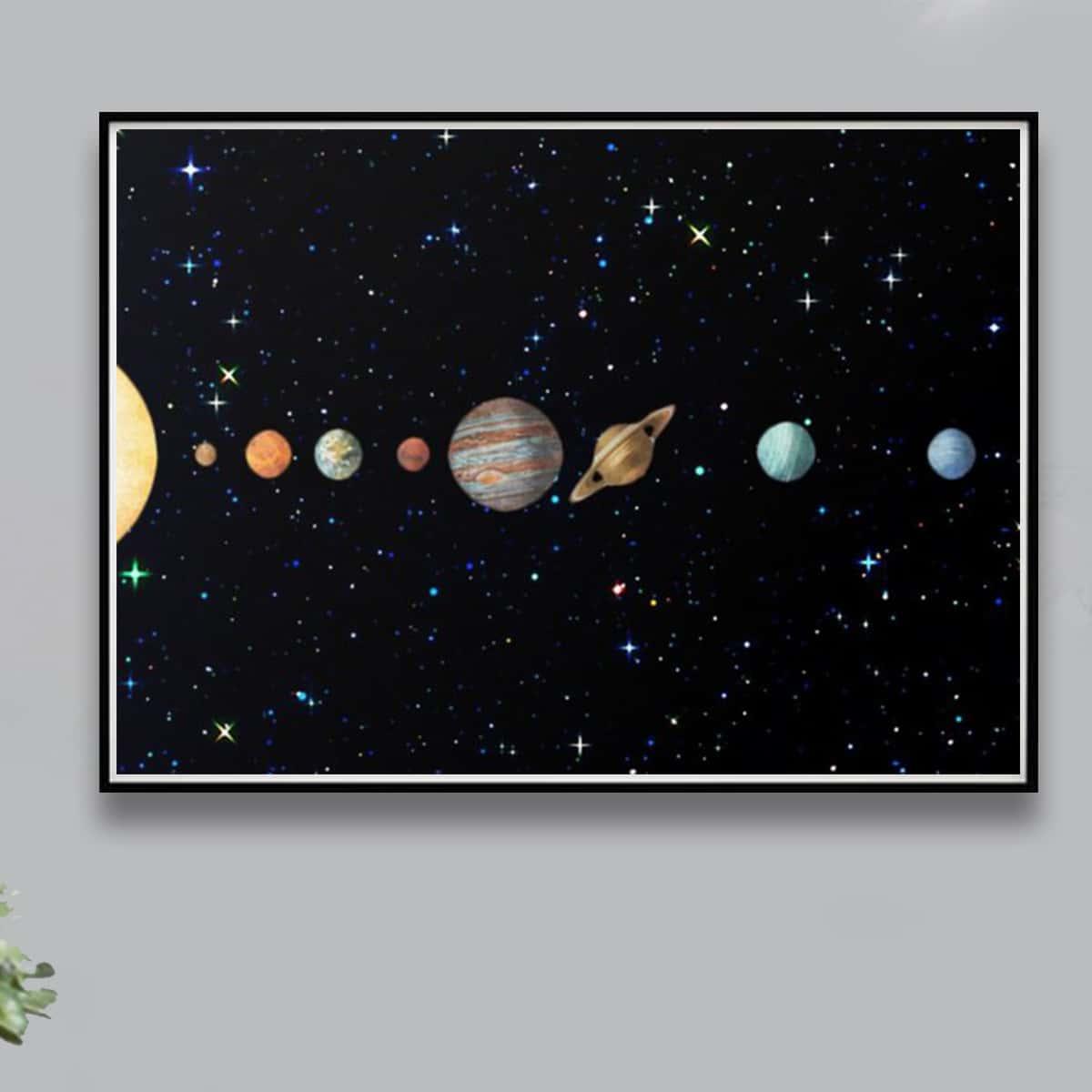 Алмазная живопись с принтом планеты без рамки