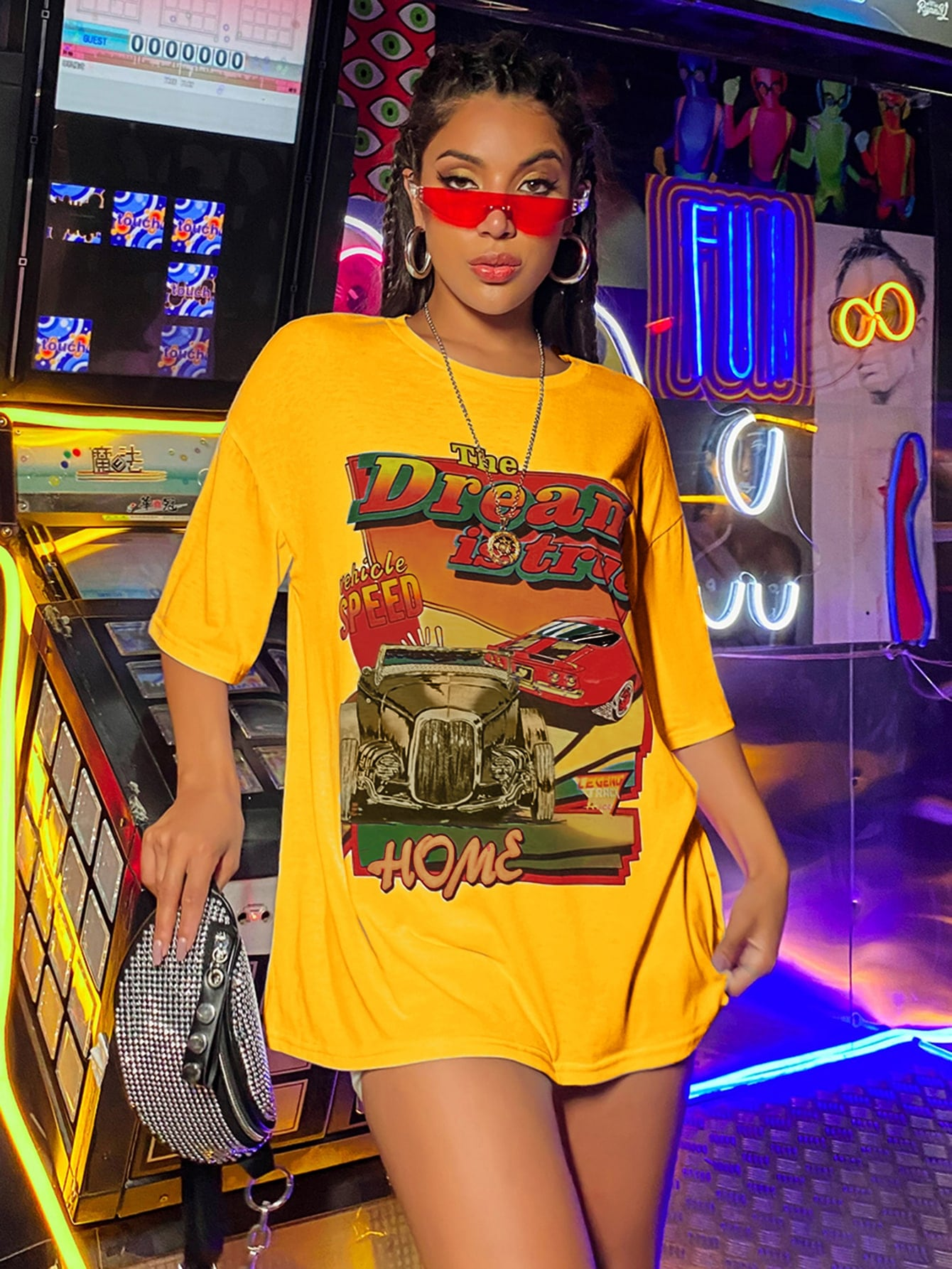 Car And Letter Graphic Oversized Tee thumbnail