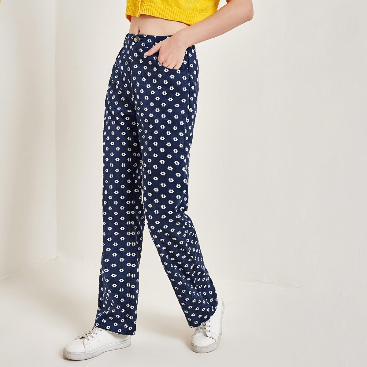Вельветовые брюки с цветочным принтом