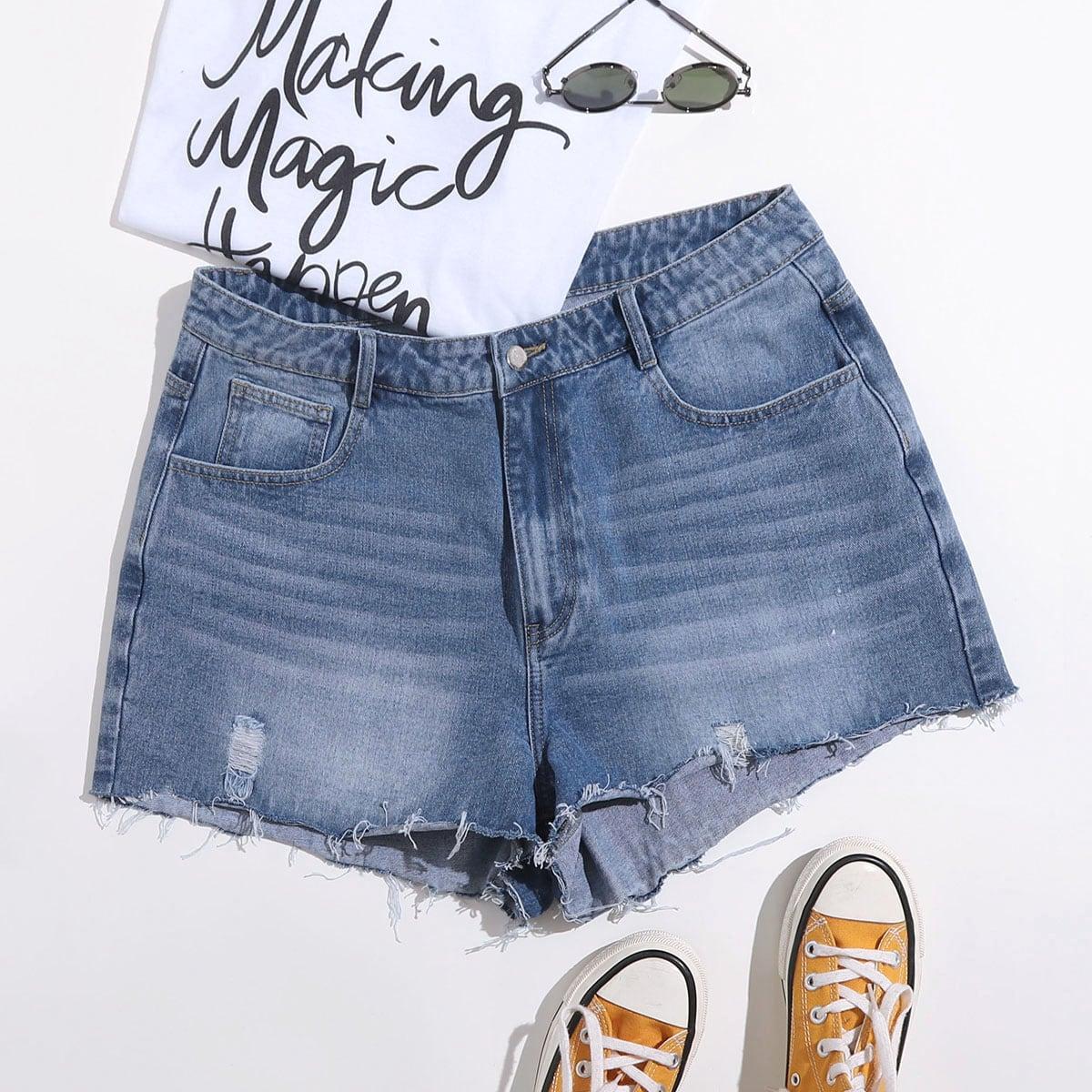 Разрезы одноцветный джинсовые шорты размер плюс