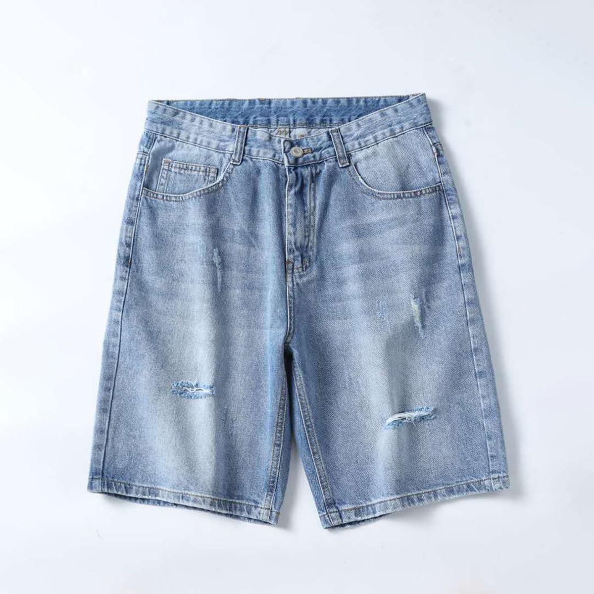 Карман Одноцветный Повседневный Мужские джинсовые шорты