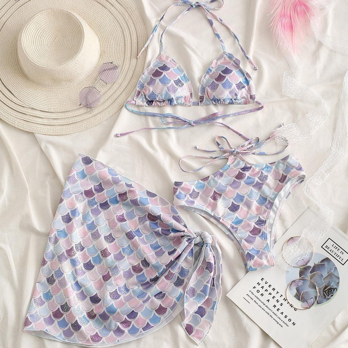 3 пакета бикини и пляжная юбка с чешуевидным узором