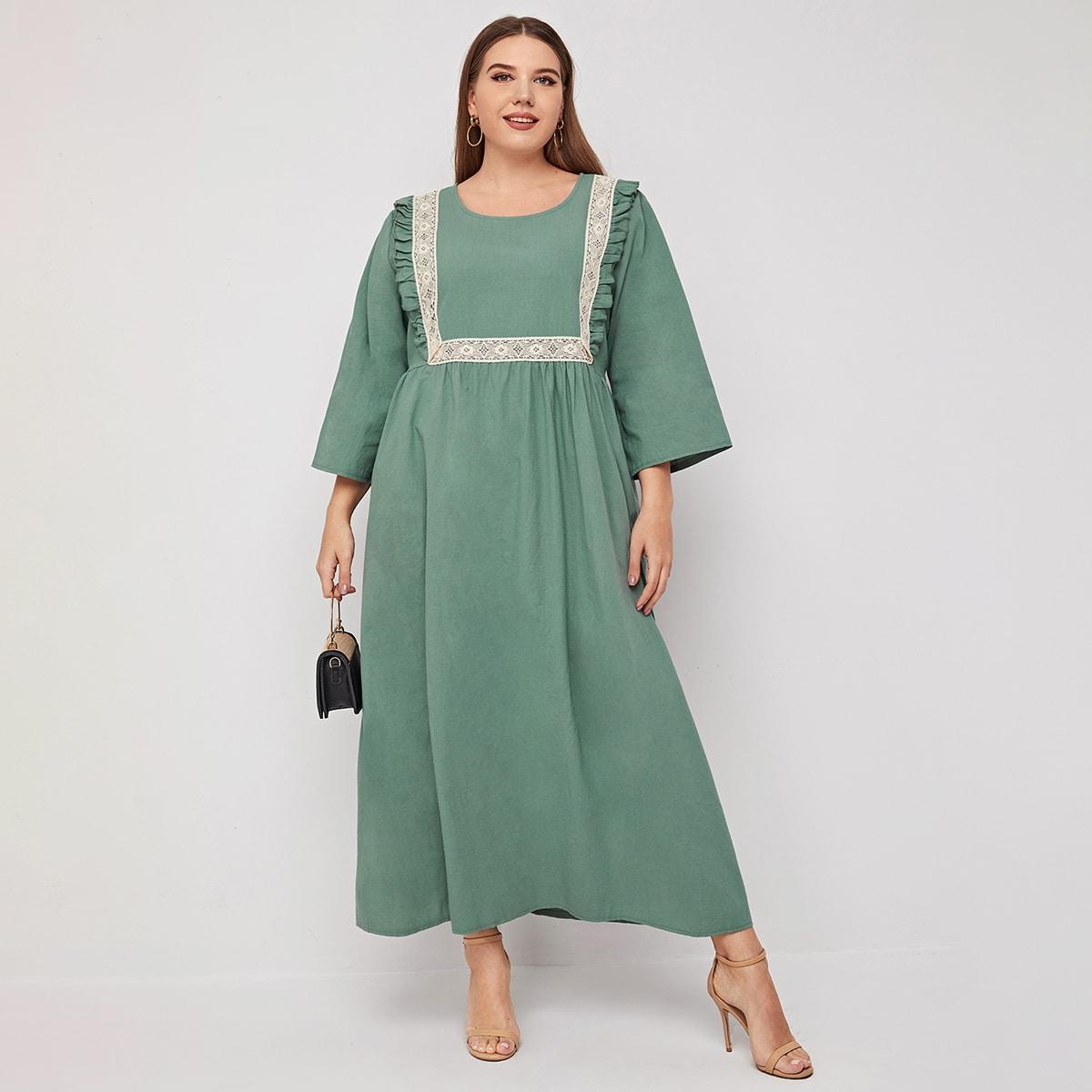 Контрастные кружева Контрастный цвет Скромный Платья размер плюс