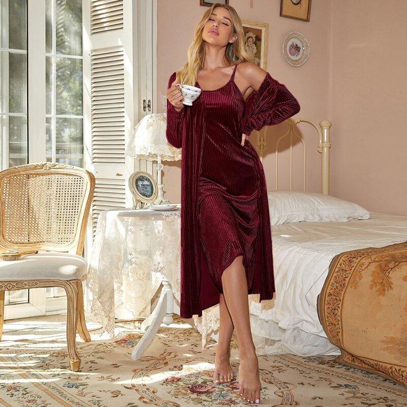 Velvet Solid Cami Nightdress & Robe, Burgundy