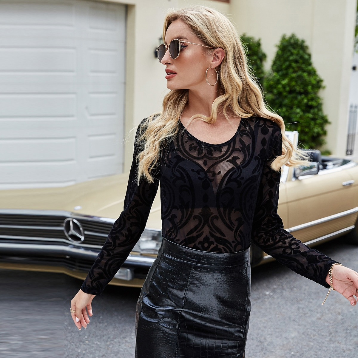 Sheer Mesh Top Without Bra, SHEIN  - buy with discount