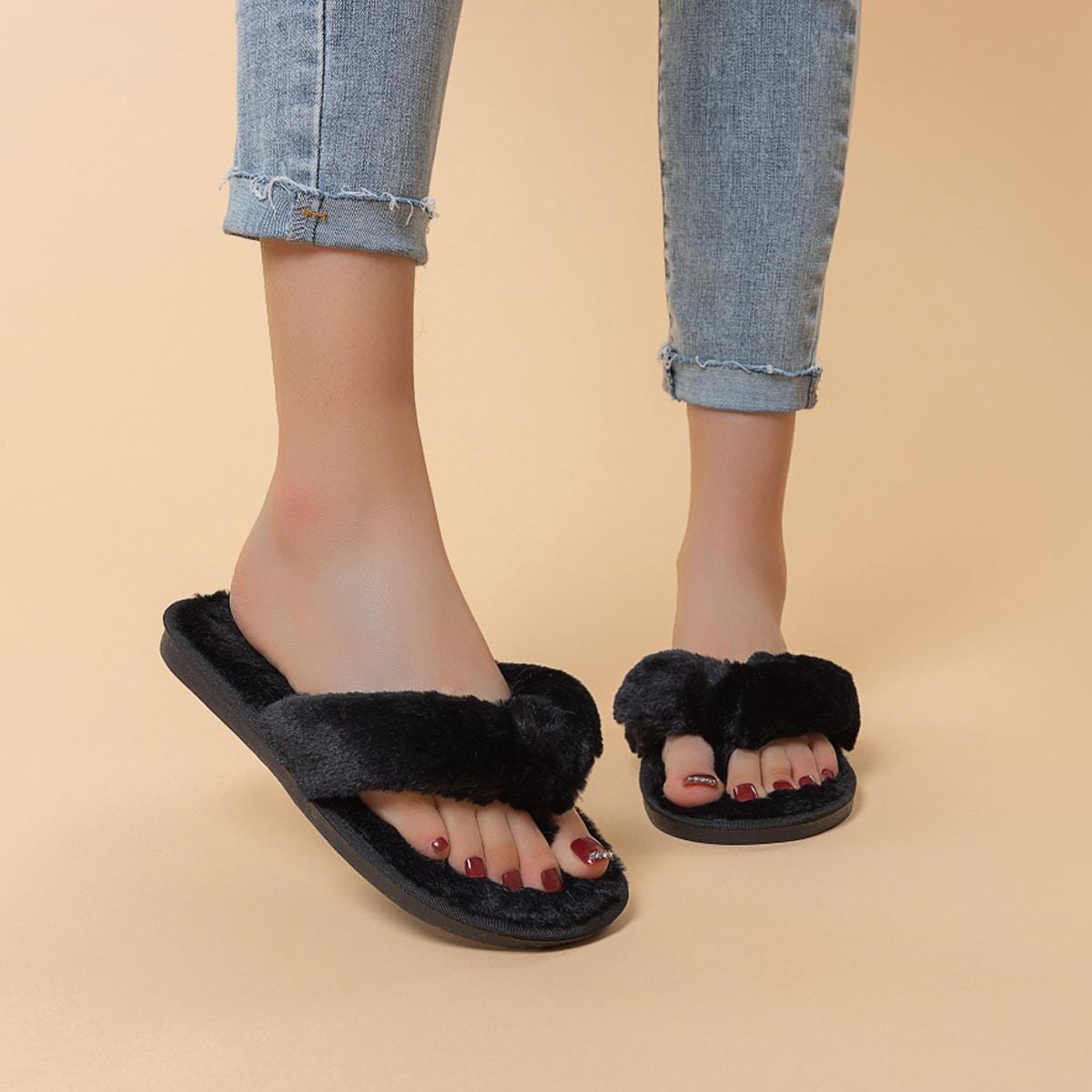 Плюшевые тапочки минималистичный сланцы от SHEIN