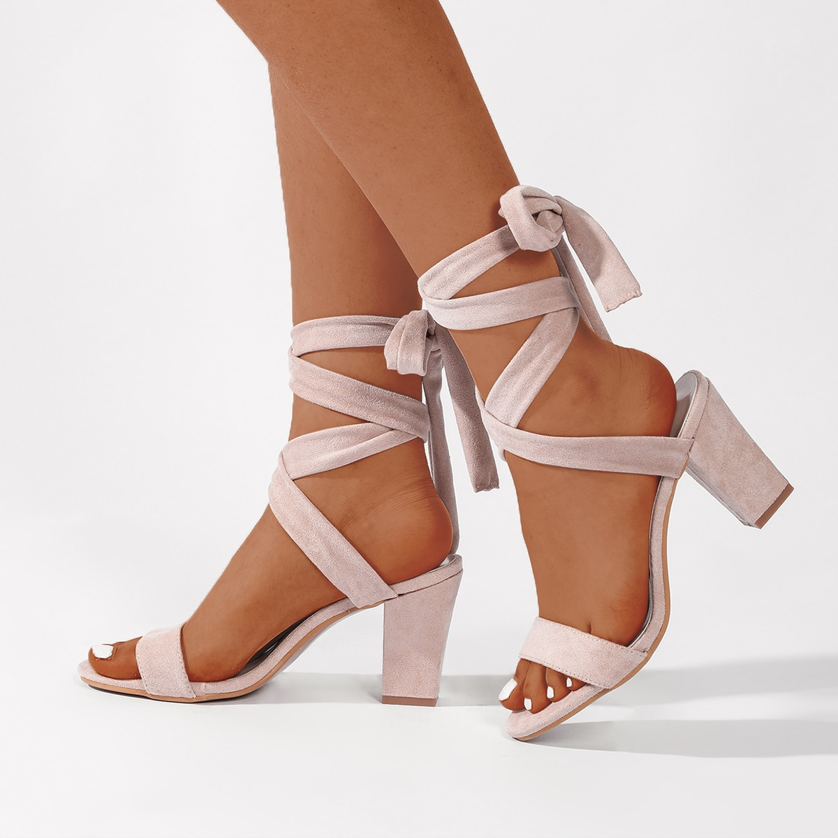 Tie Leg Suede Chunky Heeled Sandals, SHEIN  - buy with discount