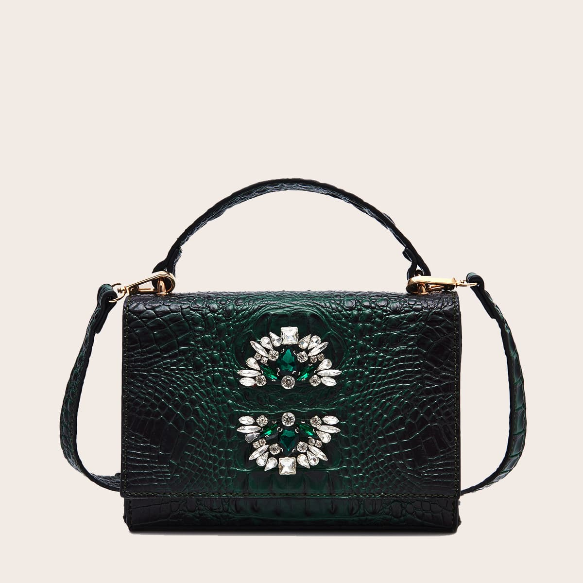 Gemstone Decor Croc Embossed Flap Satchel Bag, SHEIN  - buy with discount