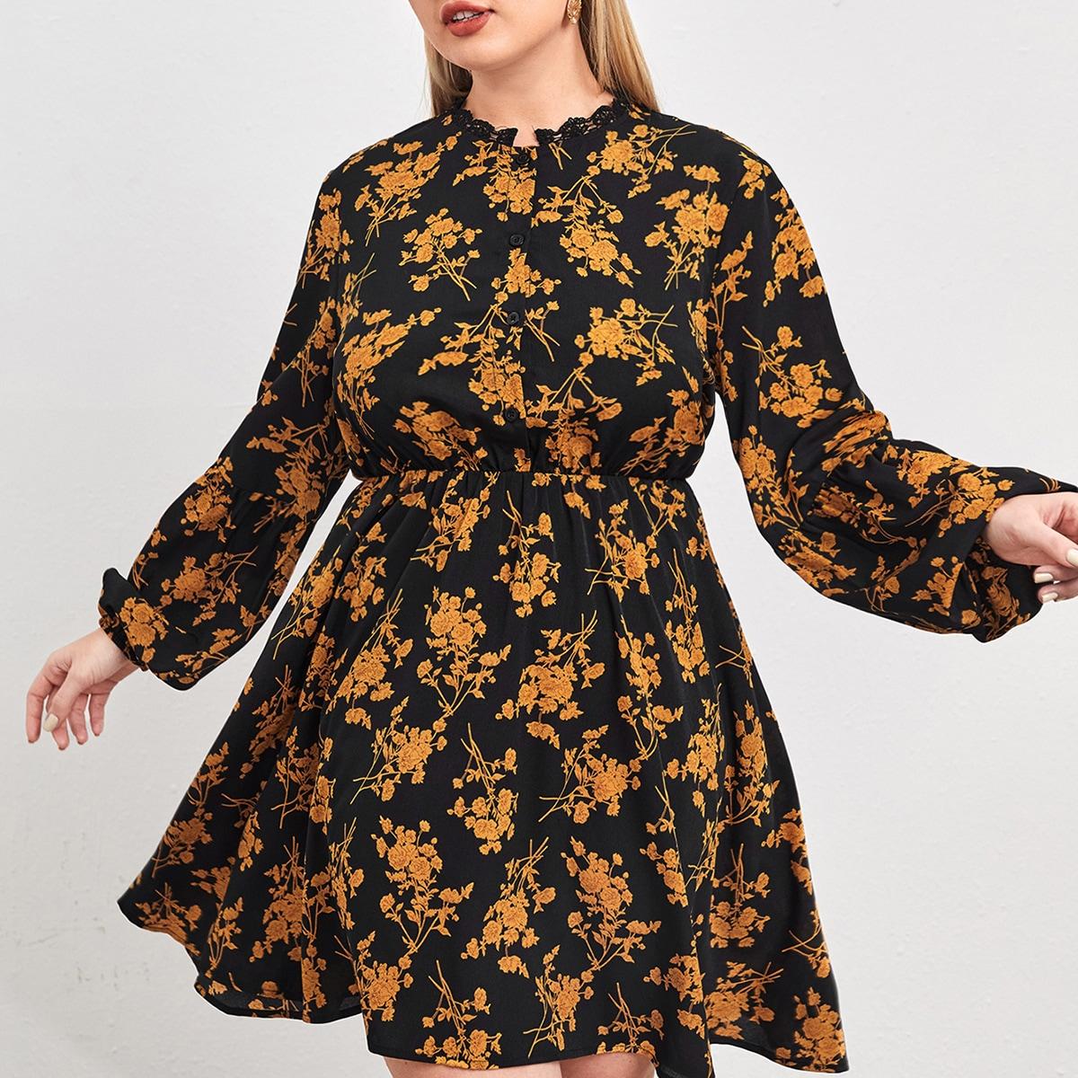 Контрастные кружева Цветочный Повседневный Платья размер плюс