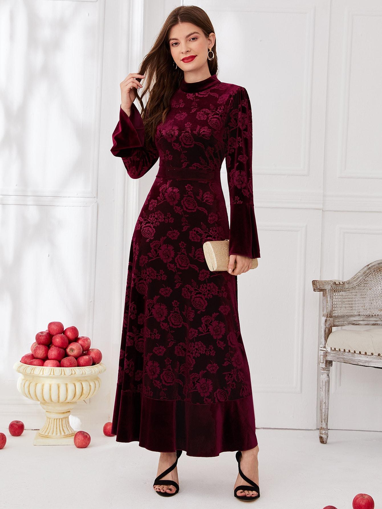 All Over Floral Print Ruffle Hem Velvet Dress thumbnail