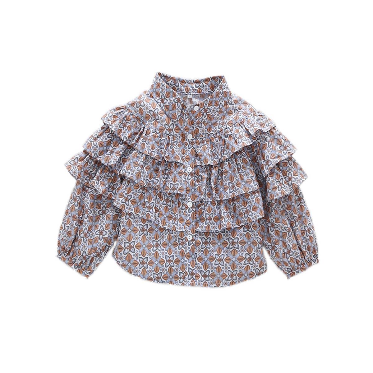 Блузка с цветочным принтом для девочек