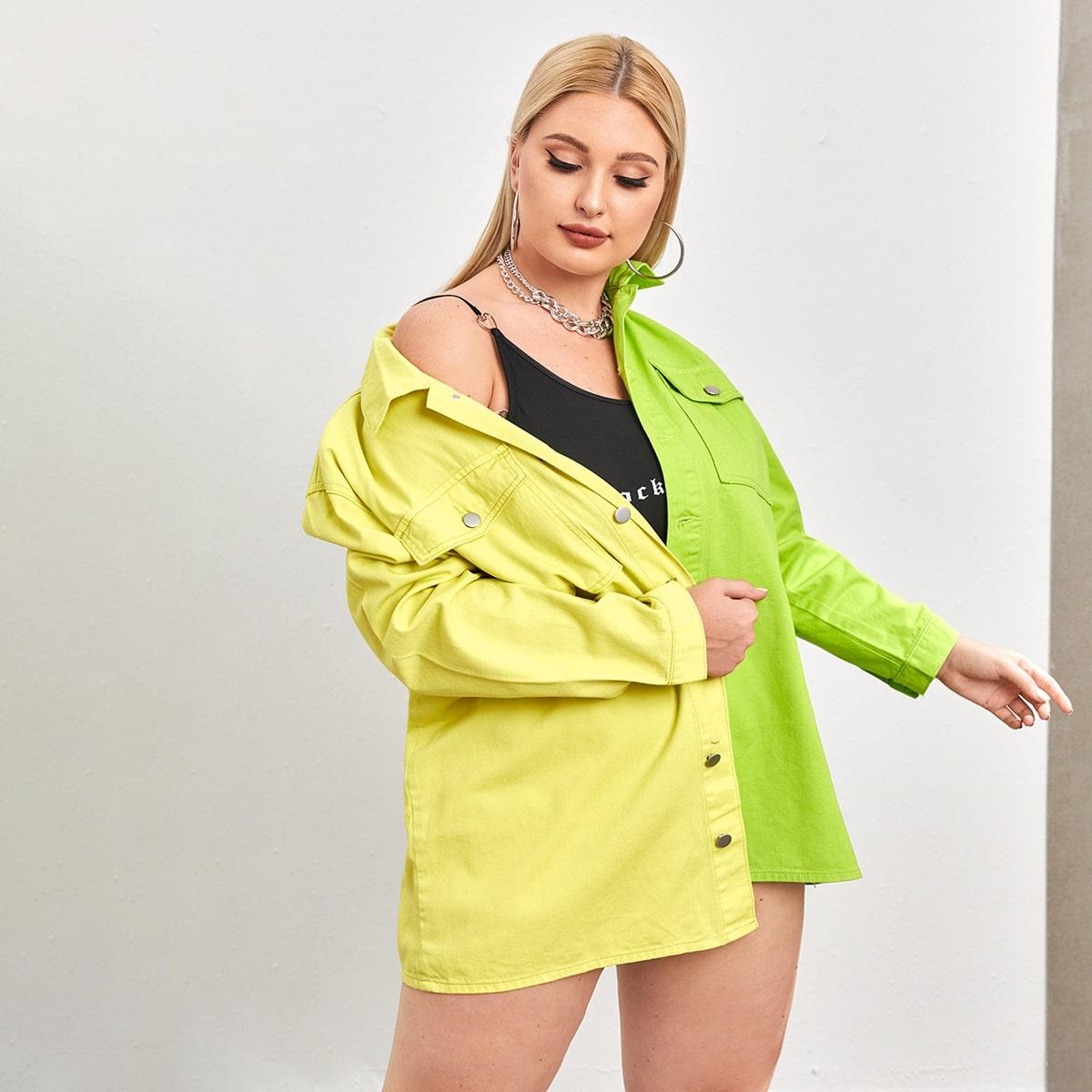 с карманами Контрастный цвет Повседневный Джинсовая куртка размера плюс