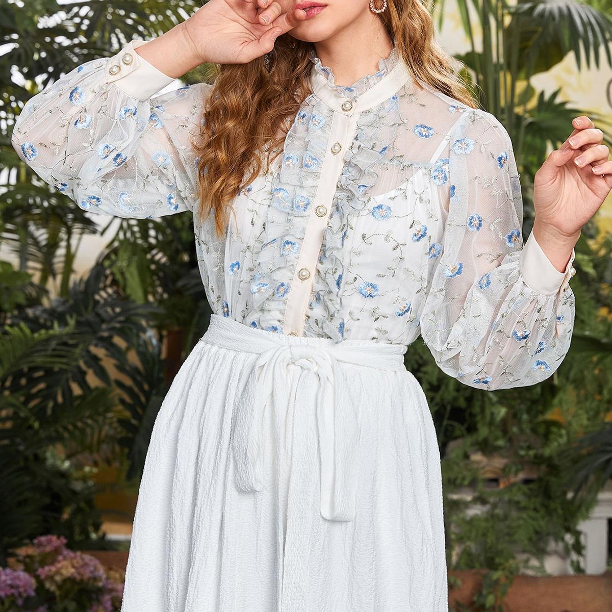 с оборками Цветочный Элегантный Блузы