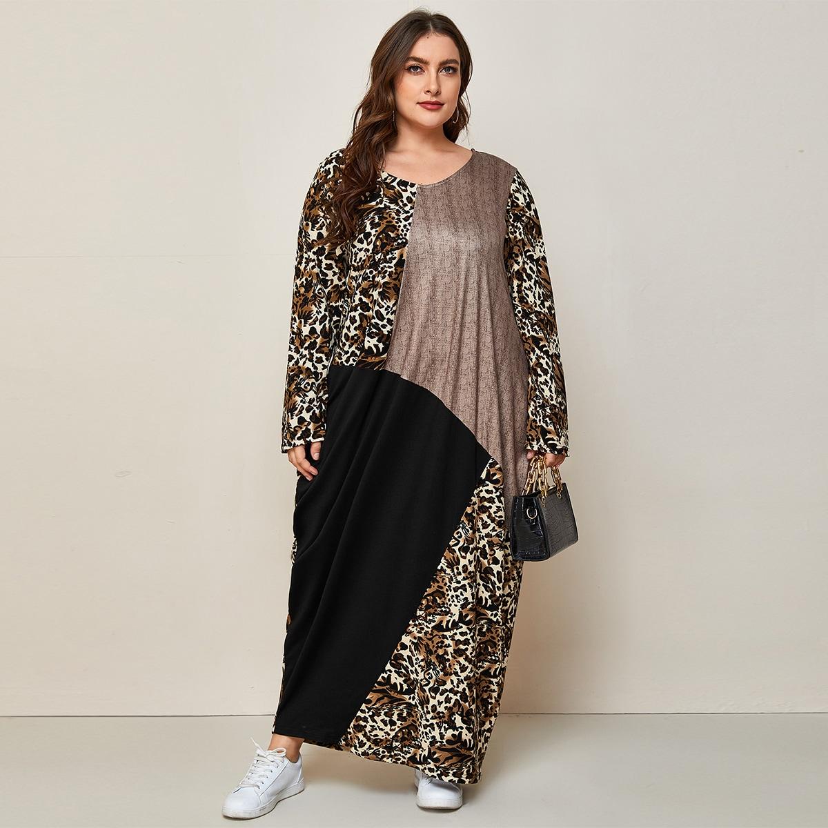 Леопардовый Скромный Платья размер плюс