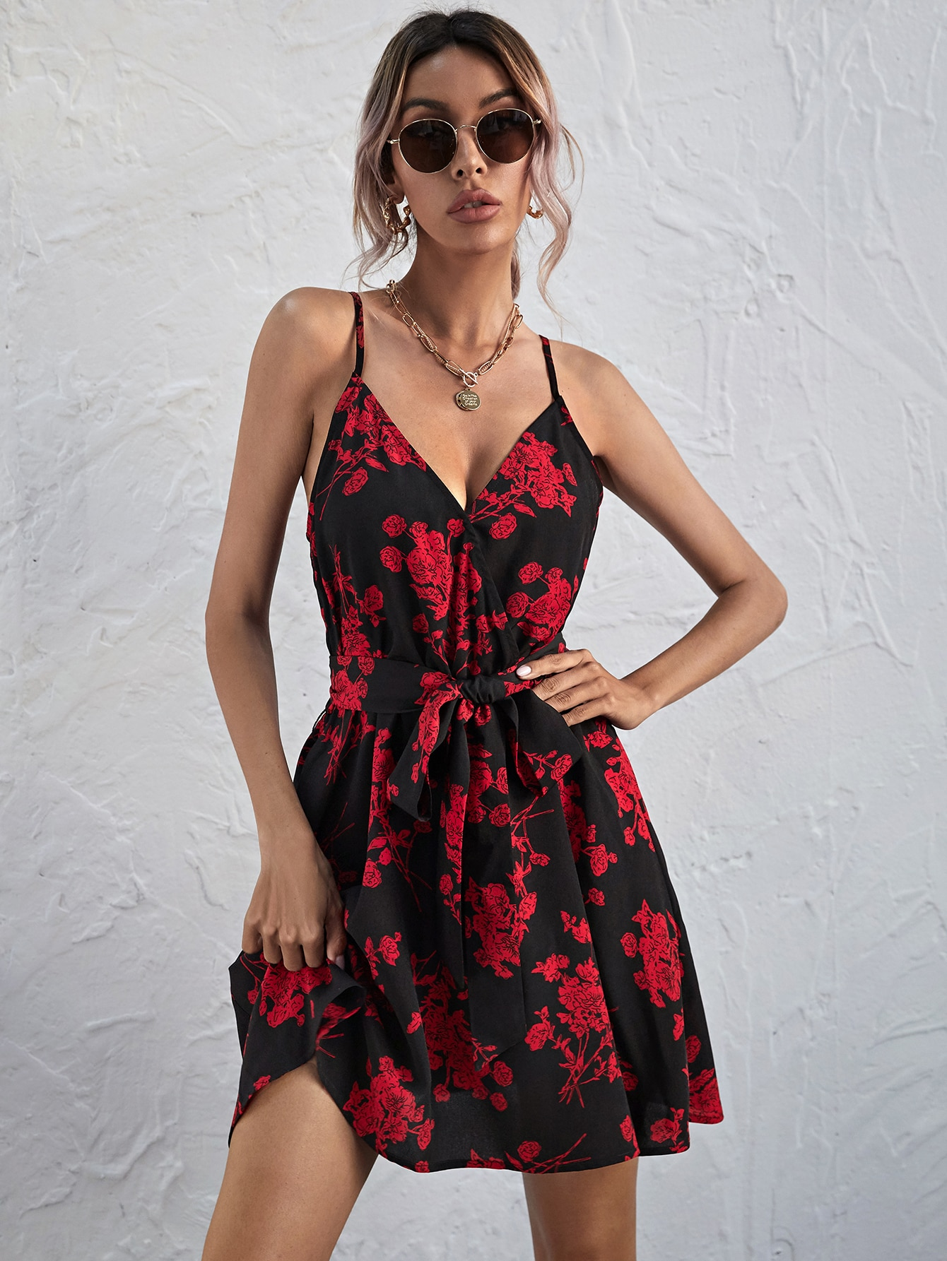 Self Belted Floral Cami Dress thumbnail
