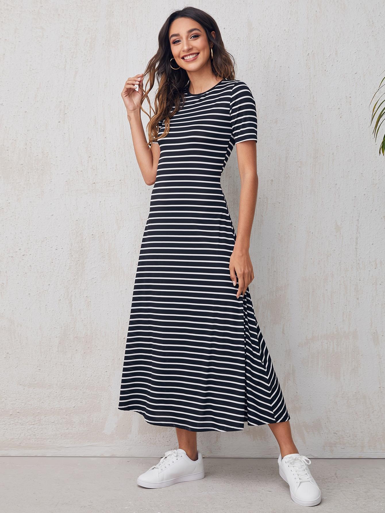 Round Neck Striped Dress thumbnail