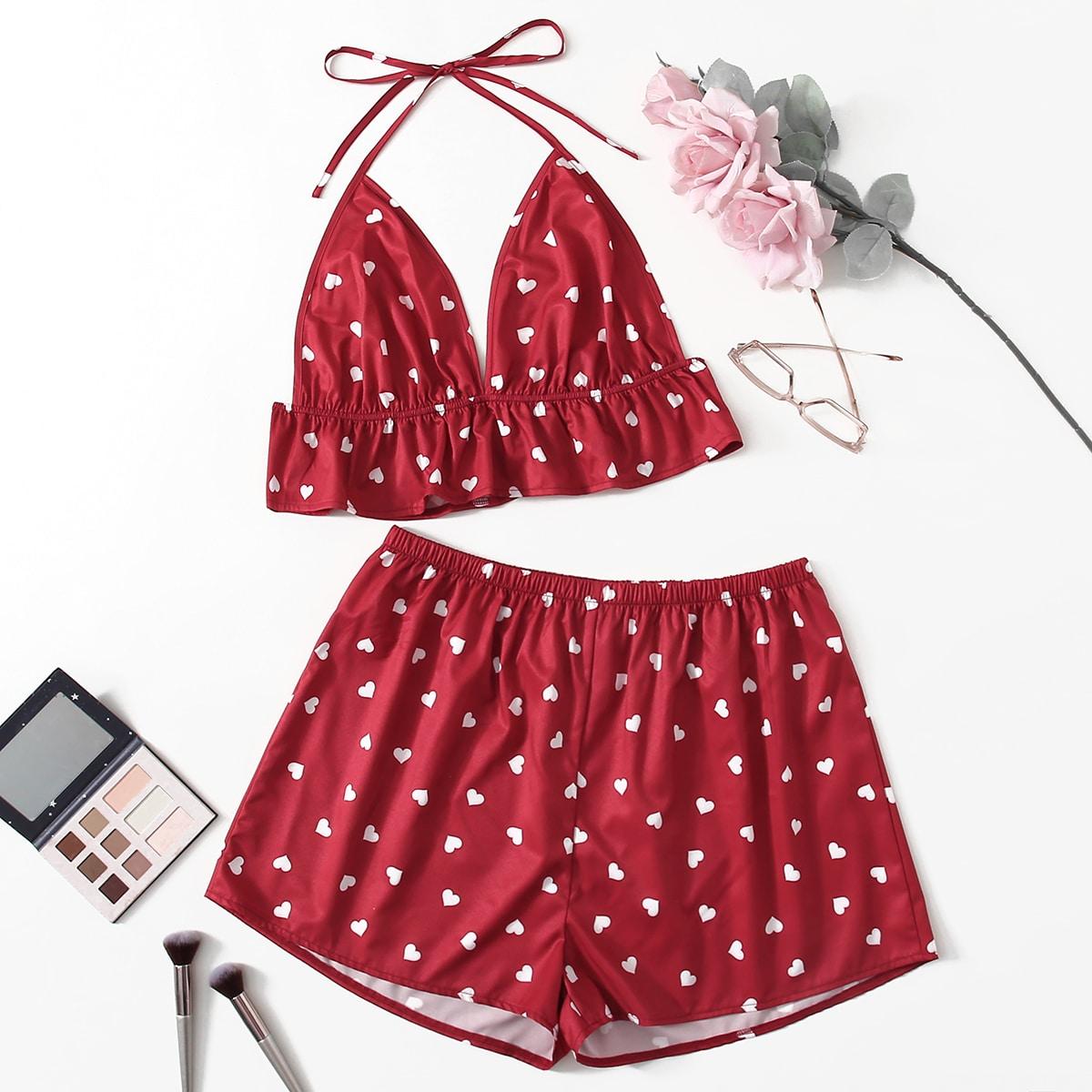 shein Sexy Hart Grote maten pyjama sets Geknoopt