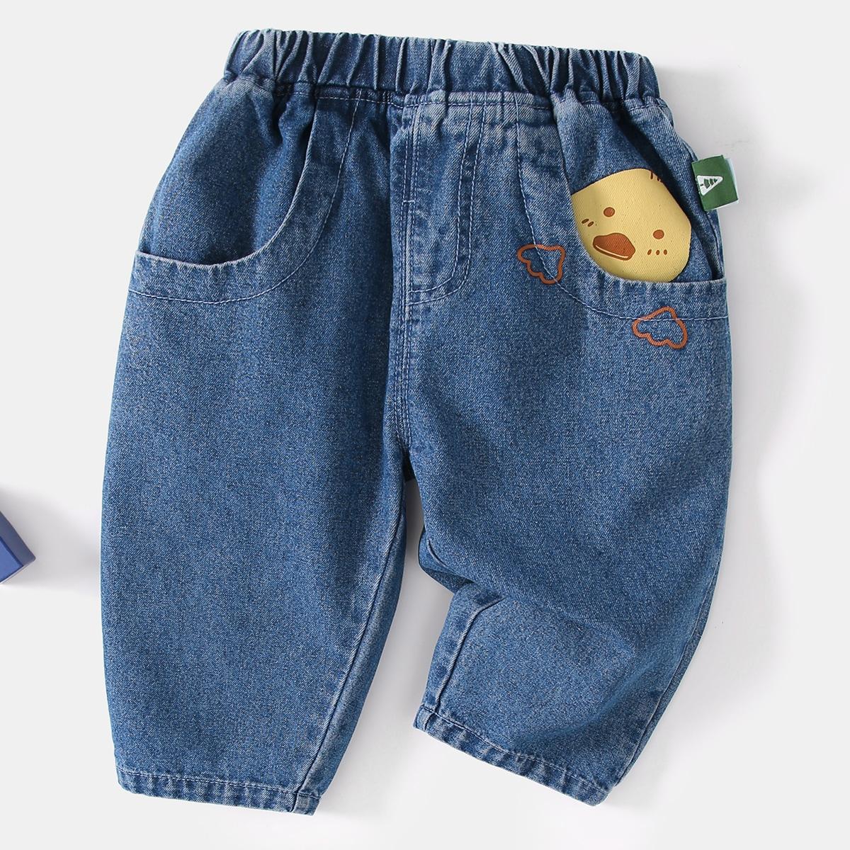 с вышивкой Мультяшный принт Деним для малышей от SHEIN