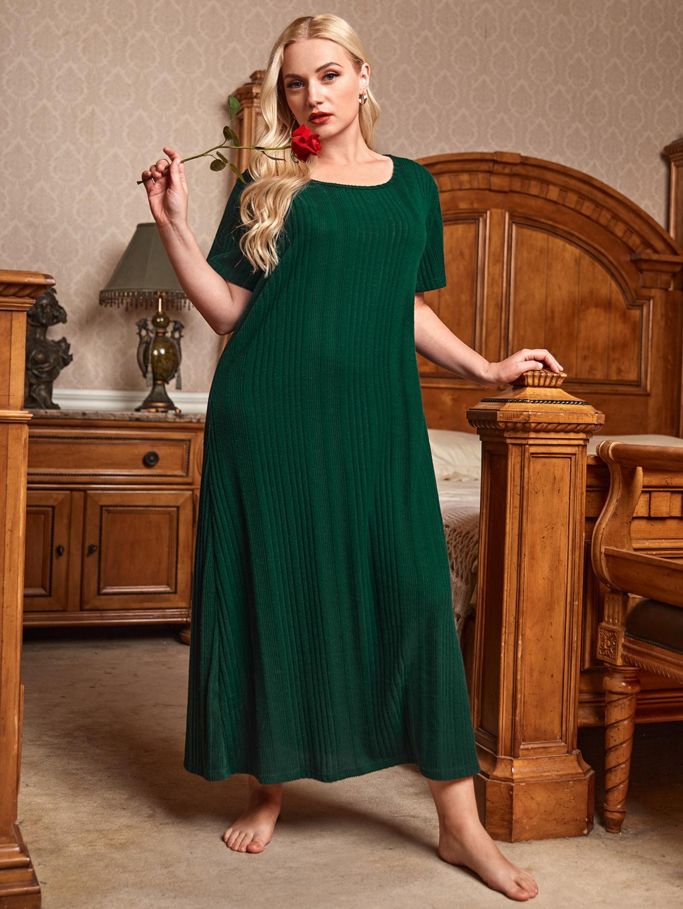 Plus Solid Rib-knit Night Dress thumbnail
